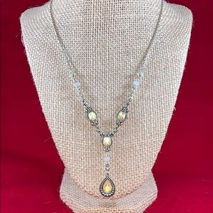 Vintage Avon yellow and silver toned Y necklace